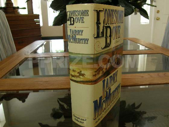 Picture of the dust jacket spine for Lonesome Dove. Photo courtesy of James Cahill/Rare 