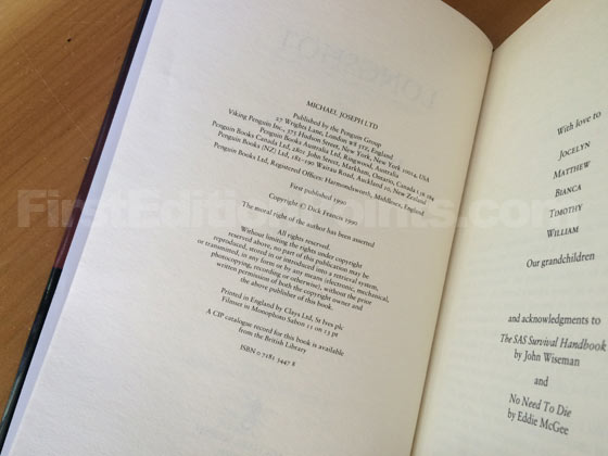 Picture of the first edition copyright page for Longshot.
