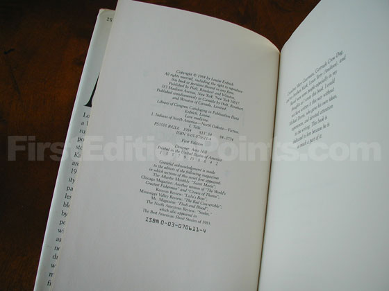 Picture of the first edition copyright page for Love Medicine.