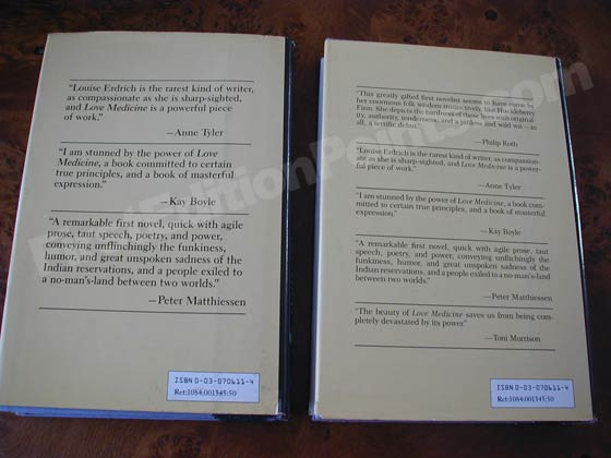 At left is the first issue dust jacket found on the first printing.  To the right of it
