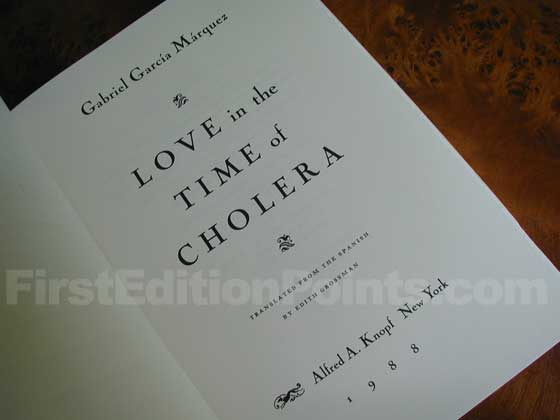Picture of the first edition title page for Love in the Time of Cholera (First American).