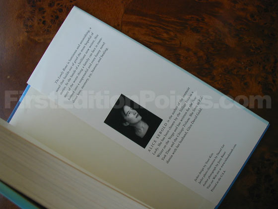 Picture of the back dust jacket flap for the first edition of The Lovely Bones.