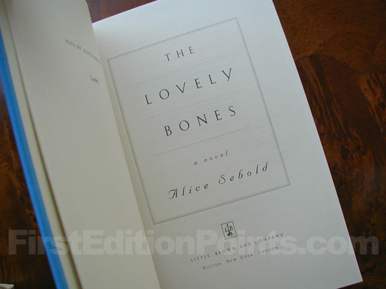 Picture of the first edition title page for The Lovely Bones.