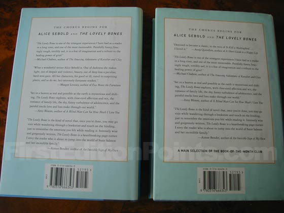 The first issue dust jacket on the left has a review quotes on the back by Margot
