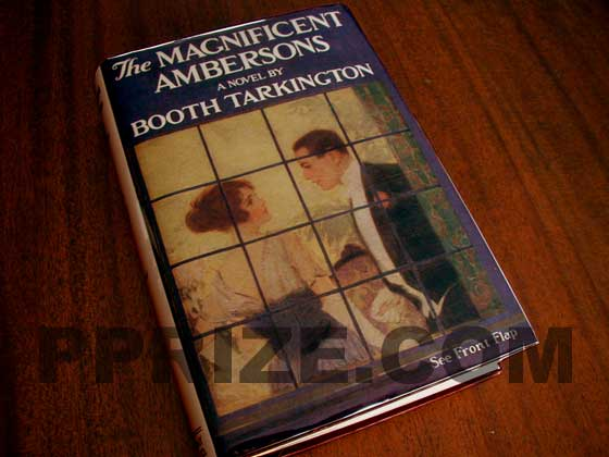 Picture of the 1918 first edition dust jacket for The Magnificent Ambersons.