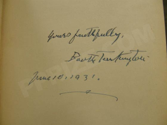 Signature of Booth Tarkington.  Photo courtesy of James Cahill/Rare Books, Inc.