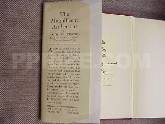 Picture of the front dust jacket flap for the first edition of The Magnificent A
