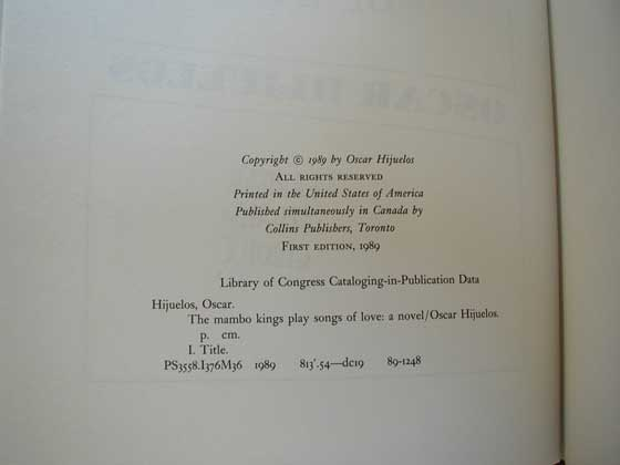 Picture of the first edition copyright page for The mambo kings play songs of love: a