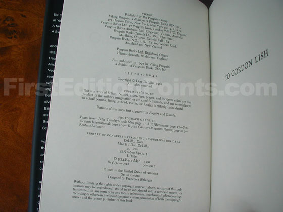 Picture of the first edition copyright page for Mao II.