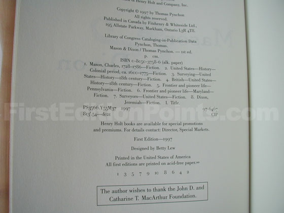 Picture of the first edition copyright page for Mason & Dixon.