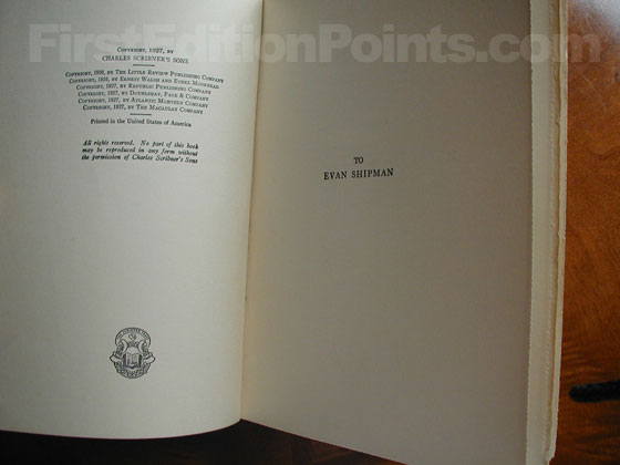 Picture of the first edition copyright page for Men Without Women.