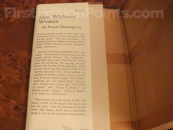 Picture of dust jacket where original $2.00 price is found for Men Without Women.