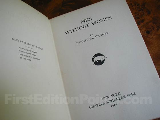 Picture of the first edition title page for Men Without Women.