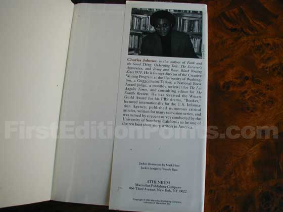 Picture of the back dust jacket flap for the first edition of Middle Passage.