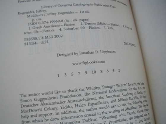 Picture of the first edition copyright page for Middlesex.