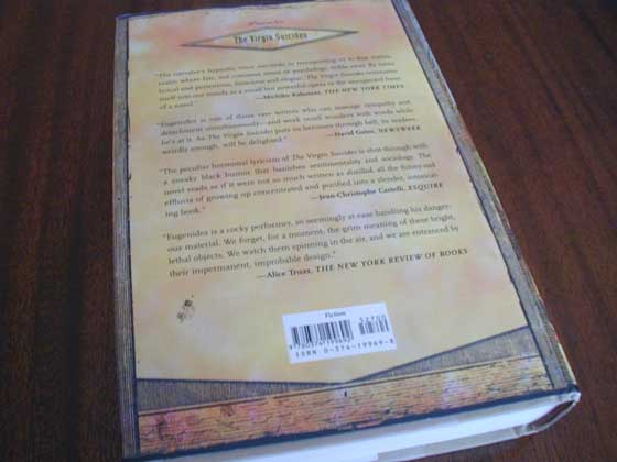 Picture of the back dust jacket for the first edition of Middlesex.