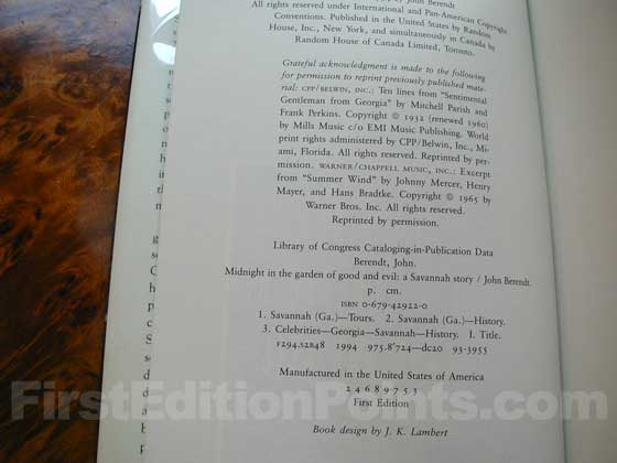 Picture of the first edition copyright page for Midnight in the Garden of Good and Evil.