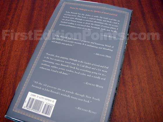 Picture of the back dust jacket for the first edition of Midnight in the Garden of Good