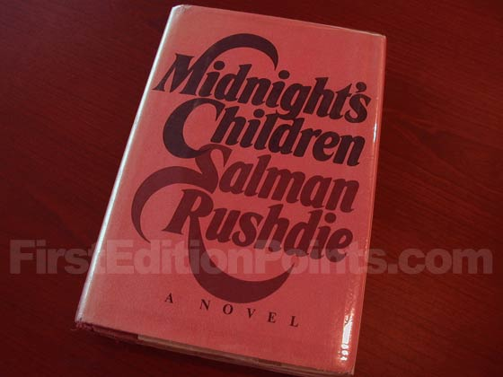 Picture of the 1981 first edition dust jacket for Midnight's Children.