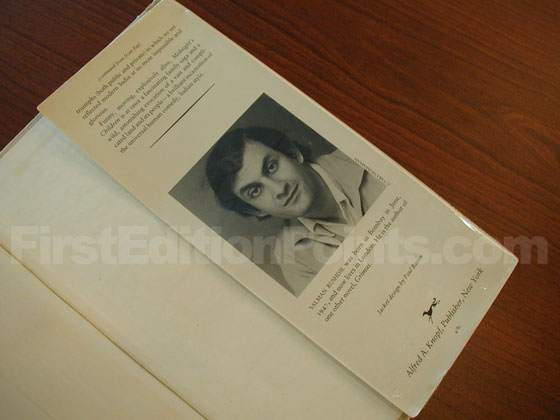 Picture of the back dust jacket flap for the first edition of Midnight's Children.