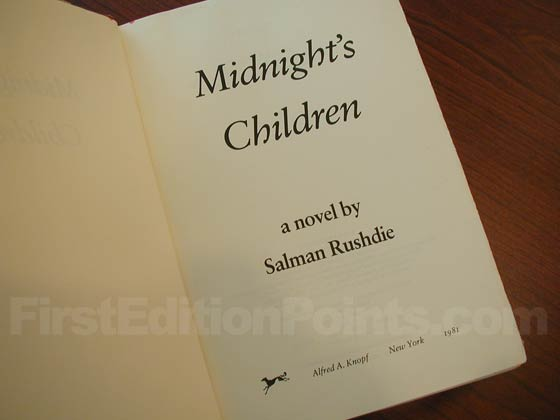 Picture of the first edition title page for Midnight's Children.