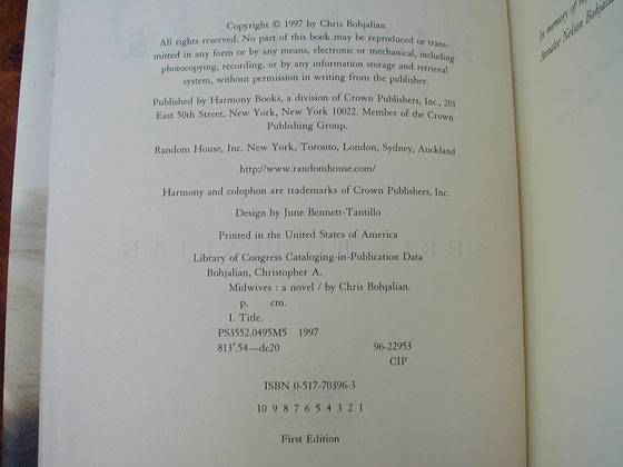 Picture of the first edition copyright page for Midwives.