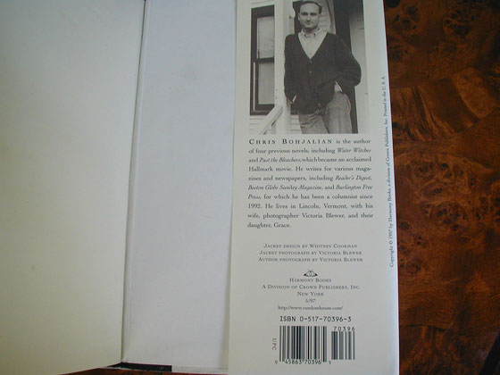 Picture of the back dust jacket flap for the first edition of Midwives.
