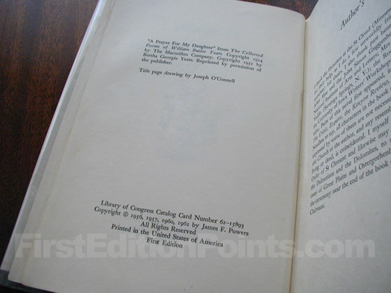 Picture of the first edition copyright page for Morte D'Urban.
