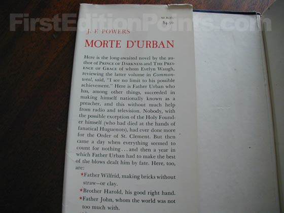 Picture of dust jacket where original $4.50 price is found for Morte D'Urban.