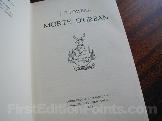 Picture of the first edition title page for Morte D'Urban.