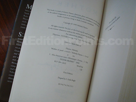 Picture of the first edition copyright page for Mother of Pearl.