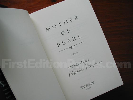 Picture of the first edition title page for Mother of Pearl.