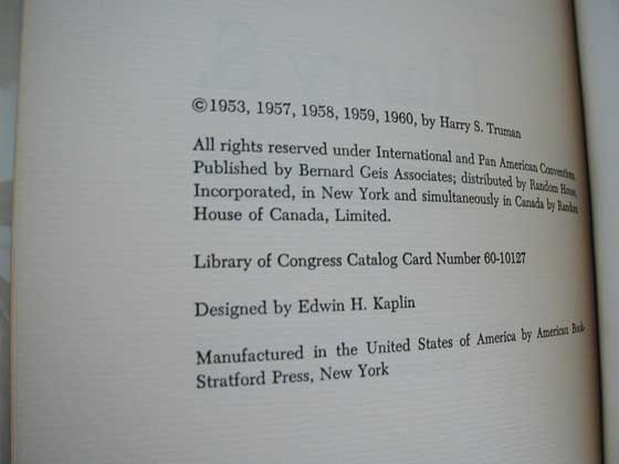This is the copyright page from the first trade edition of Mr. Citizen.