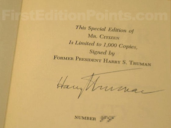 President Truman's signature from the limited first edition.