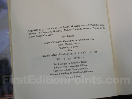 Picture of the first edition copyright page for Nightwing.