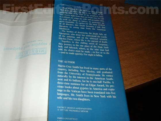 Picture of the back dust jacket flap for the first edition of Nightwing.