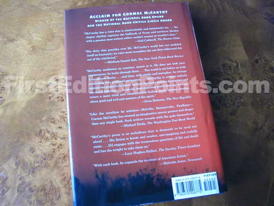 Picture of the back dust jacket for the first edition of No Country for Old Men.