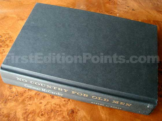 Picture of the first edition Alfred A. Knopf boards for No Country for Old Men.