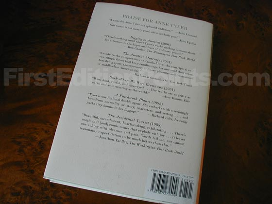 Picture of the back dust jacket for the first edition of Noah's Compass.