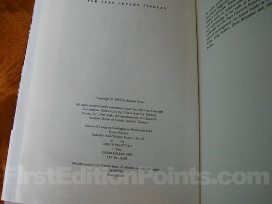 Picture of the first edition copyright page for Nobody's Fool.