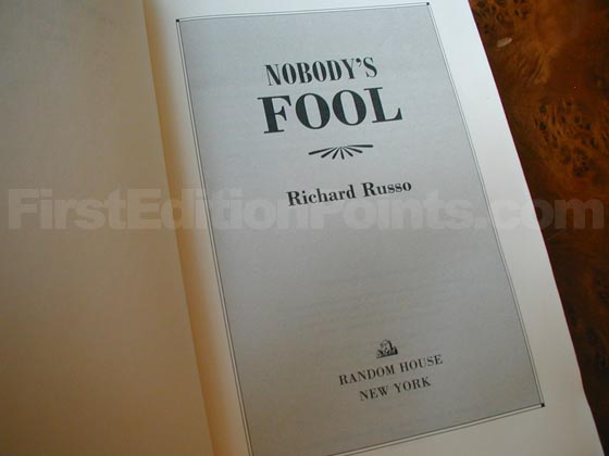 Picture of the first edition title page for Nobody's Fool.