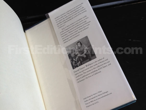 Picture of the back dust jacket flap for the first edition of Oblivion. Photo courtesy of