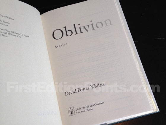 Picture of the first edition title page for Oblivion. Photo courtesy of Bryan Franc