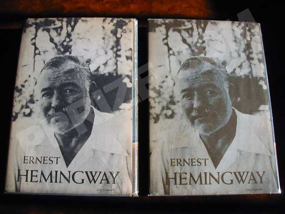 There are two variant dust jackets.  The one on the left has an blue tinted photo of