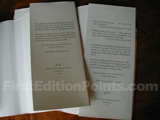 The dust jacket on the left is the first issue.  It has no reviews on the back flap.  The