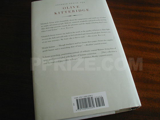 Picture of the back dust jacket for the first edition of Olive Kitteridge.