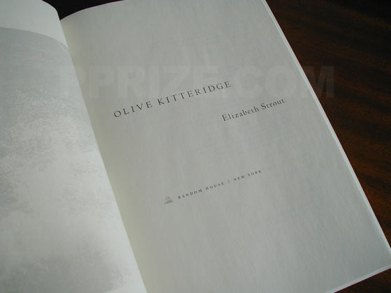 Picture of the first edition title page for Olive Kitteridge.