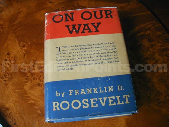 Picture of the 1934 first edition dust jacket for On Our Way.