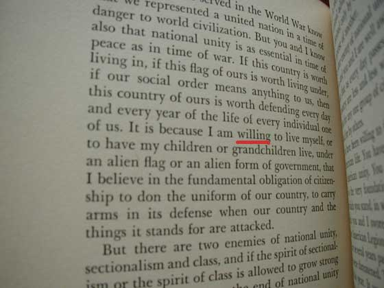 "The first state of On Our Way has ""willing"" instead of ""unwilling"" on page 162, line 10"