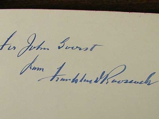 President Franklin Roosevelt typically signed this book on one of the front blank pa